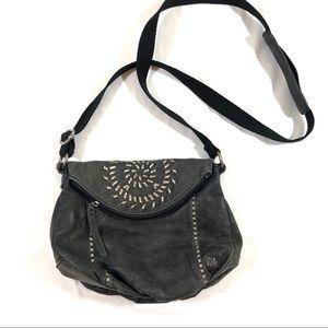 The Sak Deena Leather Hobo Crossbody Studded Black